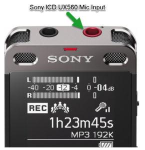 Sony icd-ux560 mic input